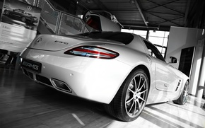 Обои sls, mercedes, black and white, garage
