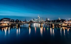 Картинка Frankfurt, Germany, blue hour
