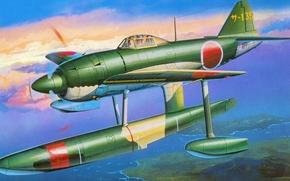 Картинка fighter, морской, истребитель-перехватчик, японец, Kyofu, N1K1, поплавки, floatplane, hydroplane