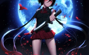 Обои девушка, ночь, улыбка, оружие, луна, катана, аниме, арт, форма, школьница, blood+, kisaragi saya