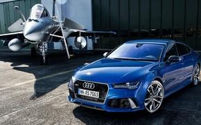 Обои синяя, RS 7, самолет, ауди, Audi, Sportback