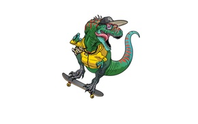 Картинка стиль, динозавр, кепка, скейт
