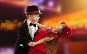 Обои любовь, детство, романтика, ребенок, танец, мальчик, пара, девочка, love, День святого Валентина, boy, couple, dance, ...