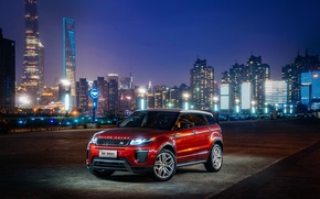 Обои Evoque, HSE Dynamic, Land Rover, Range Rover, city, город, lights, огни, car, машина