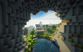 Картинка облака, деревья, горы, озеро, равнина, деревня, minecraft