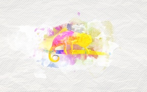 Обои минимализм, ветка, текстура, разводы, хамелеон, краска, пятна