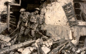 Картинка война, солдаты, руины, Первая мировая война, Saul Tepper