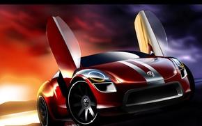 Обои авто, эскиз, Volkswagen