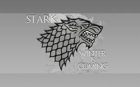 Картинка Game of Thrones, Winter is coming, House Stark, darewolf