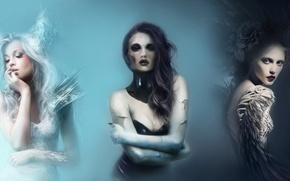 Картинка смерть, девушки, перья, брюнетка, блондинка, темная, светлая, Artem Smirnoff