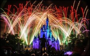 Картинка огни, праздник, подсветка, Диснейленд, разноцветный, фейерве́рк, Замок Спящей Красавицы