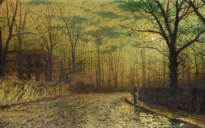 Картинка картина, John Atkinson, луна, улица, забор, вечер, девушка, ночь, небо, облака