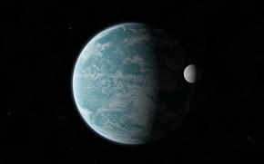 Картинка звезды, пространство, планета, спутник, бесконечность