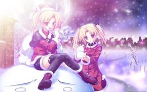 Обои зима, снег, деревья, город, девушки, праздник, луна, кометы, Новый год, снеговик, мешок