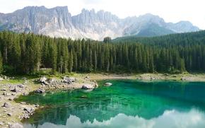 Обои лес, деревья, горы, озеро, камни, скалы, берег, Италия, Южный Тироль, Доломиты, Karersee, Карецца