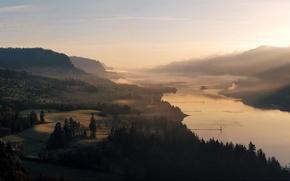 Обои landscape river, forest, пейзажи, природа, деревья, trees, water, sky, леса, реки