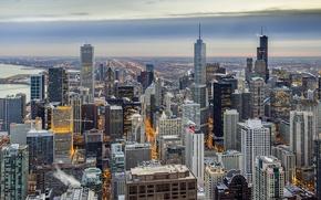 Картинка небоскребы, USA, америка, чикаго, Chicago, Illinois, сша, buildings, skysrapers