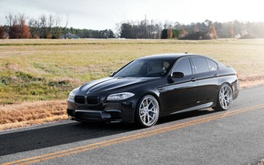 Картинка поле, чёрный, бмв, тень, BMW, black, вид сбоку, f10