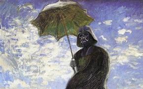 Картинка небо, зонтик, картина, Star Wars, шлем, плащ, дарт вейдер, маслом