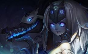 Картинка девушка, оружие, магия, монстр, аниме, маска, арт, songjikyo