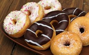 Картинка шоколад, пончики, сдоба, десерт, выпечка, сладкое, поднос, глазурь, присыпка