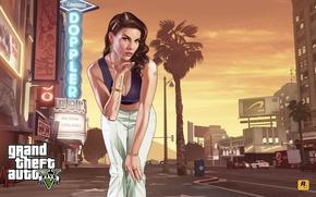 Картинка взгляд, город, art, улица, gta, Grand Theft Auto 5, девушка, лос сантос, центр