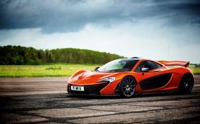 Картинка McLaren, Небо, Трава, Деревья, Orange, Sky, Grass, Суперкар, Supercar, Trees, Маклпрен