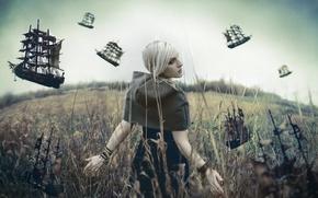 Картинка поле, девушка, ситуация, корабли
