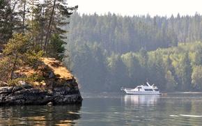 Картинка лес, вода, берег, яхта, boat in octopus islands