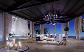 Картинка дизайн, комната, диван, интерьер, кресло, свечи