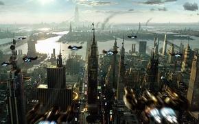 Обои небоскреб, города, фантастика