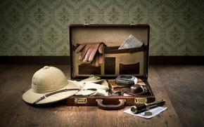 Обои рубашки, фотоаппарат, романтика, подзорная труба, дневники, путешествие, чемодан, карты, компас, приключение, подготовка к путешествию, перчатки