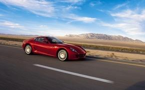 Обои дорога, небо, GTB, 599, Ferrari