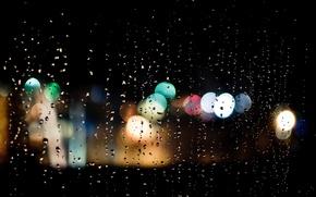 Картинка стекло, капли, ночь, огни, дождь, bokeh
