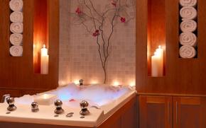 Картинка пена, полотенце, свечи, ванна, шкафчик, ванная комната