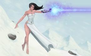 Картинка девушка, снег, фантастика, магия, рука, платье, арт, холодно