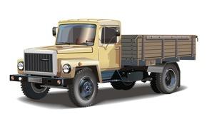 Картинка ретро, вектор, грузовик, кабина