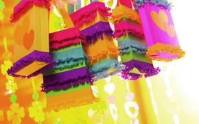 Обои сердца, colorful, hearts, мешочек, Gift Bag, День святого Валентина подарки, valentine's day gifts, красочных