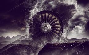 Картинка абстракция, турбина, лопасти, digital art