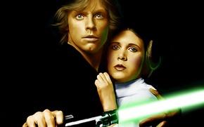 Картинка Star Wars, актер, lightsaber, jedi, Luke Skywalker, Princess Leia, mark hamill, Princess Leia Organa, Carrie …