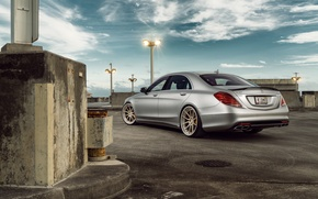 Картинка Mercedes-Benz, Matte, Sedan, Silver, Wheels, Outdoor, Rear, S63, ADV.1