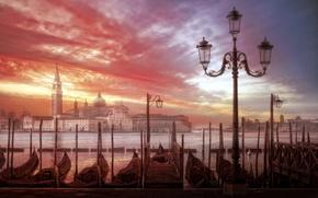 Обои Венеция, город, закат