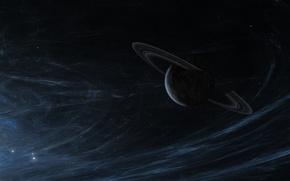 Картинка звезды, пространство, планета, кольца, бесконечность