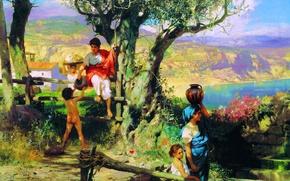 Картинка женщины, лето, пейзаж, дети
