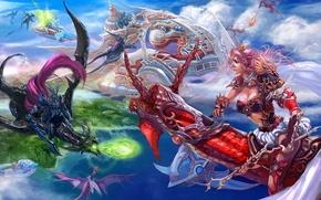 Картинка девушка, оружие, транспорт, магия, драконы, арт, мужчина, битва, в небе, xiaobotong
