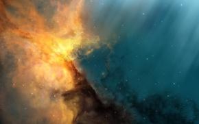 Картинка лучи, туманность, звёзды, JoeJesus