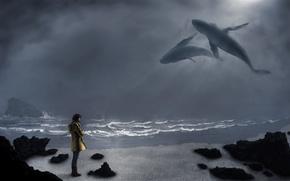 Картинка море, небо, взгляд, девушка, сапоги, киты, волны. камни, желтая куртка