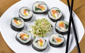 Картинка еда, суши, соя, паростки