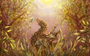 Картинка трава, солнце, свет, деревья, дракон, Лес