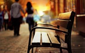 Картинка лавка, фон, парень, скамейка, скамья, размытие, разное, вечер, девушка, лавочка
